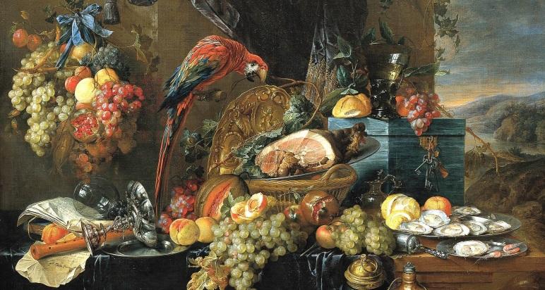 Heem,_Jan_Davidsz._de_-_A_Richly_Laid_Table_with_Parrots_-_c._1650